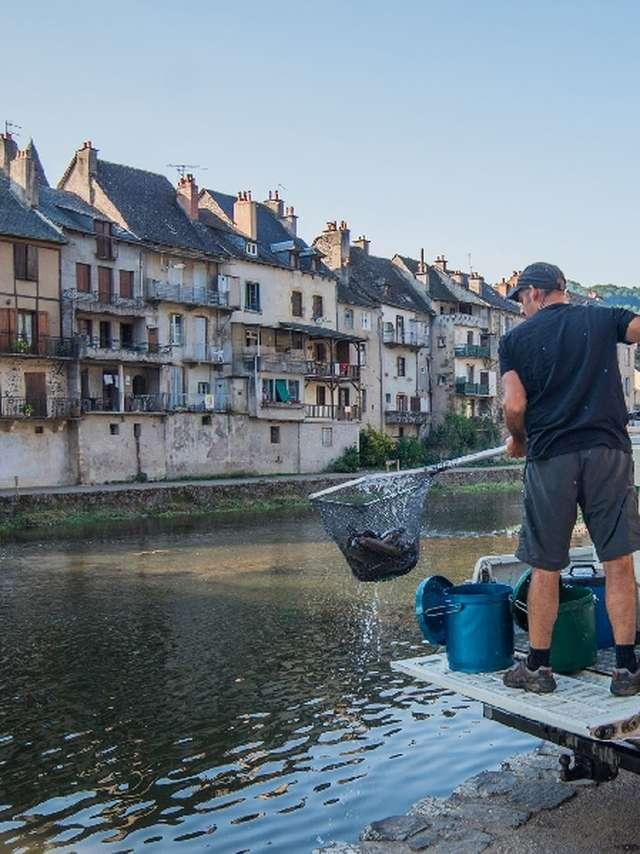 Lâchers de truites - Rivière Aveyron au moulin de Bourran