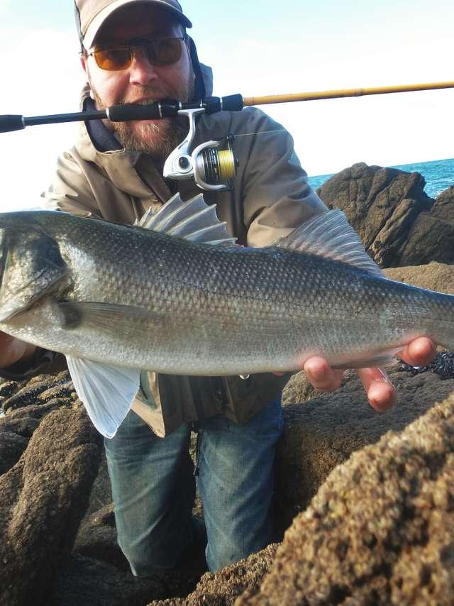 Sortie pêche du bar du bord de mer