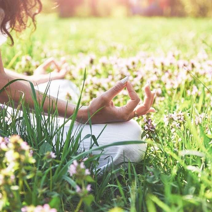 Séance de yoga doux au bord de l'étang